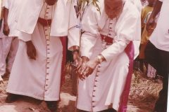 Bishop Paul Bemile (Emeritus now) and the Nuncio Archbishop George Kocherry are planting a tree at the new site of St. Benedict parish on the 19/08/2007.